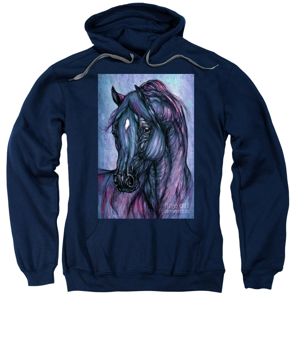Horse Sweatshirt featuring the painting Psychodelic Deep Blue by Angel Ciesniarska