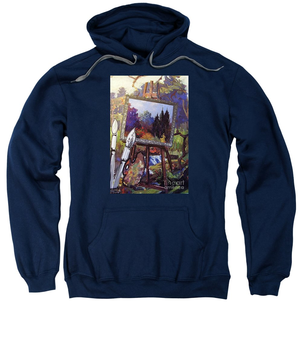 Easel Sweatshirt featuring the painting Put Color In Your Life by Eloise Schneider Mote