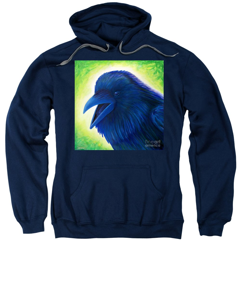Raven Sweatshirt featuring the painting Raaawk by Brian Commerford