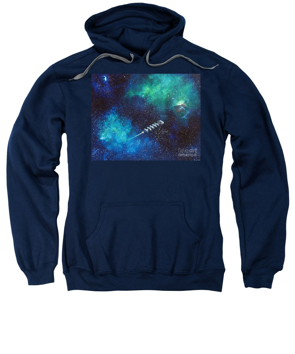 Spacescape Sweatshirt featuring the painting Reaching Out by Murphy Elliott