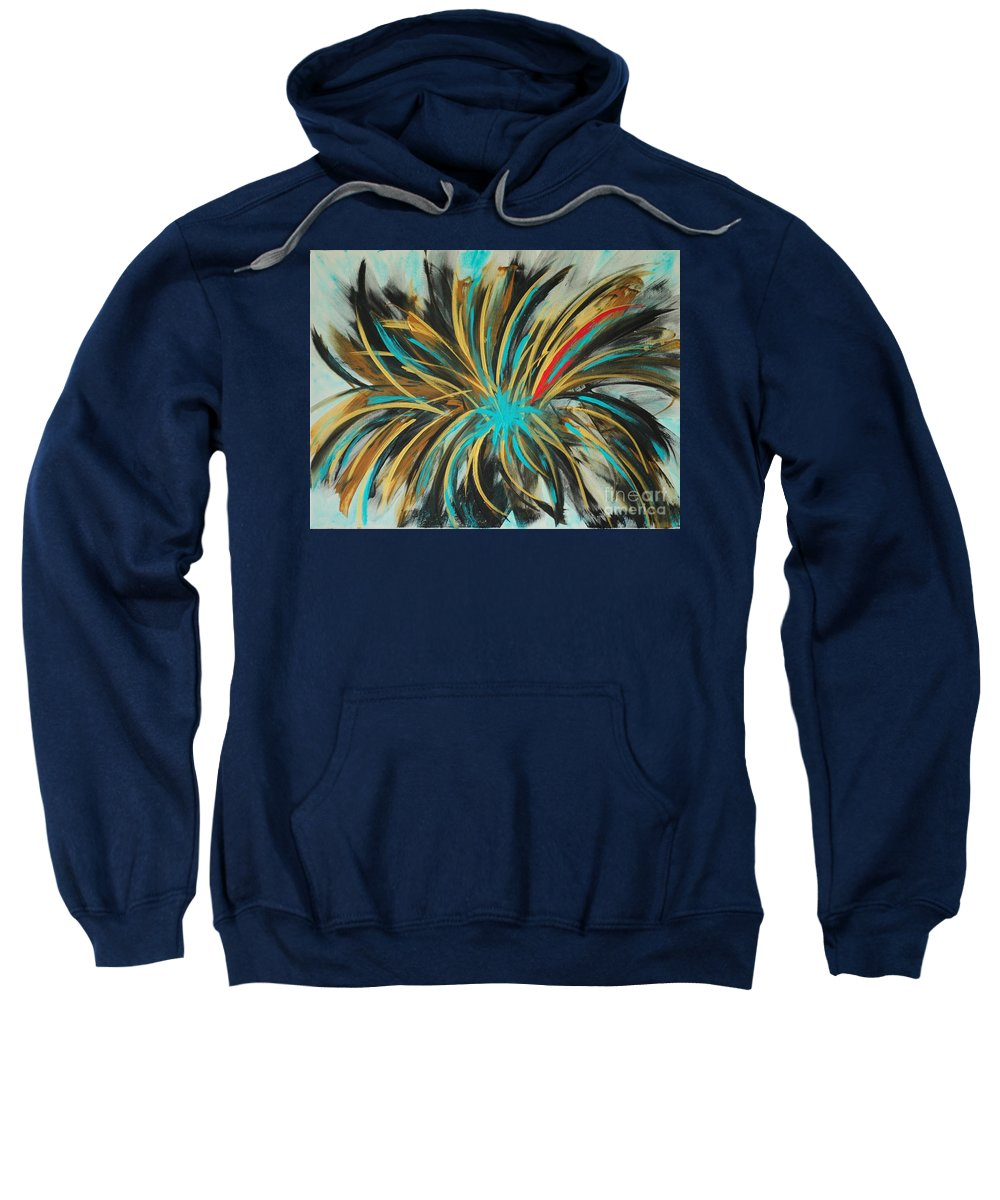 Andy Sweatshirt featuring the painting Red Streak by Paulette B Wright