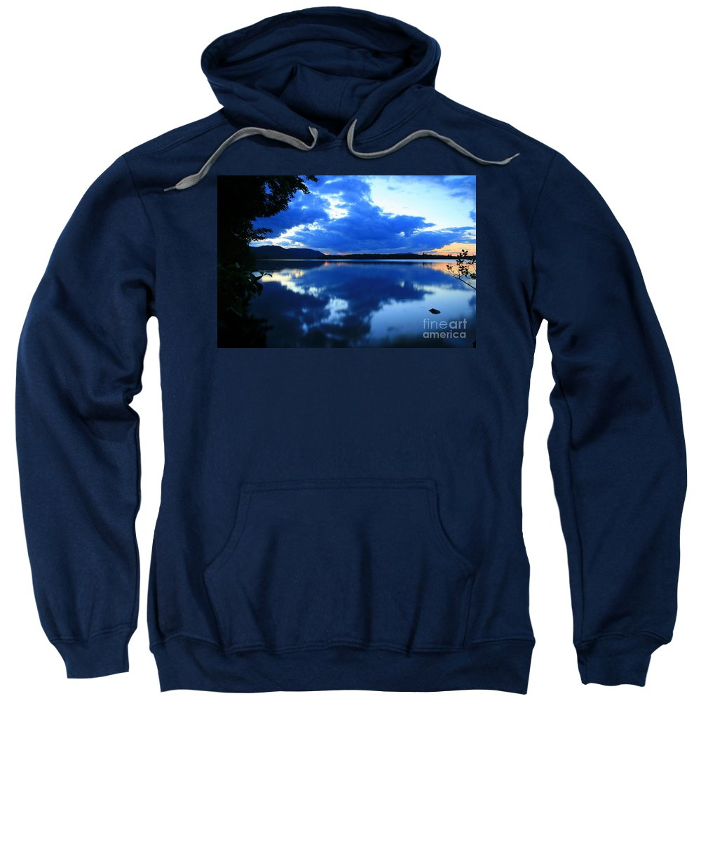 Sunset Sweatshirt featuring the photograph Reflective Blues On Lake Umbagog by Neal Eslinger