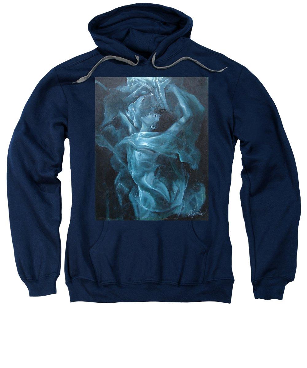 Oil Sweatshirt featuring the painting Reincarnation by Sergey Ignatenko