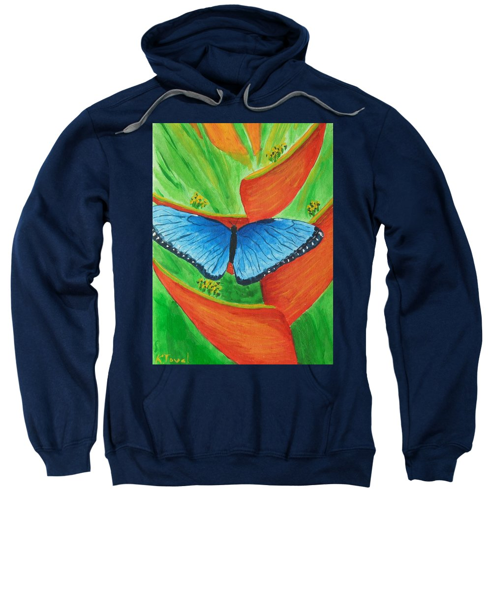 Butterfly Sweatshirt featuring the painting Resting Gently by Kathleen Toval