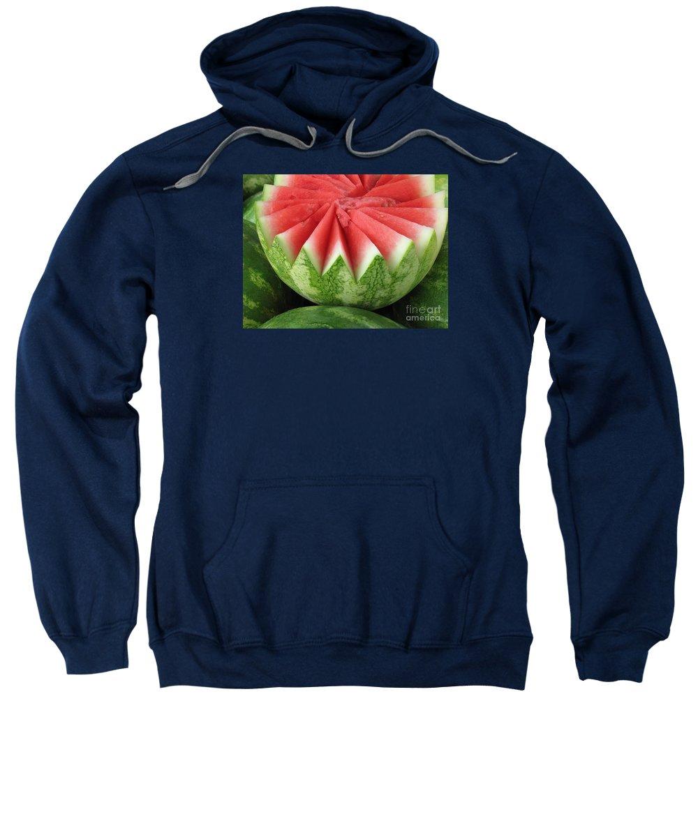 Watermelon Sweatshirt featuring the photograph Ripe Watermelon by Ann Horn