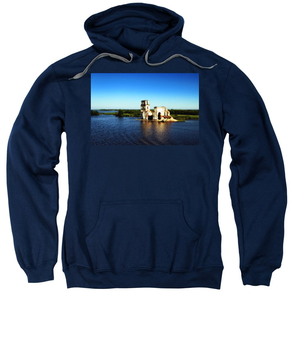 St. Basils Cathedral Sweatshirt featuring the photograph River Ruins by Linda Dunn