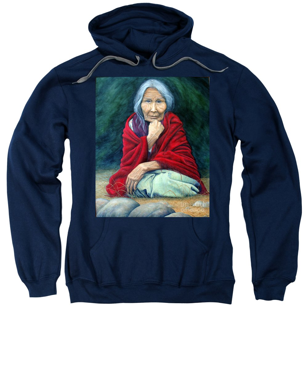 1st Nations Sweatshirt featuring the painting Rosie Remembered by Joey Nash