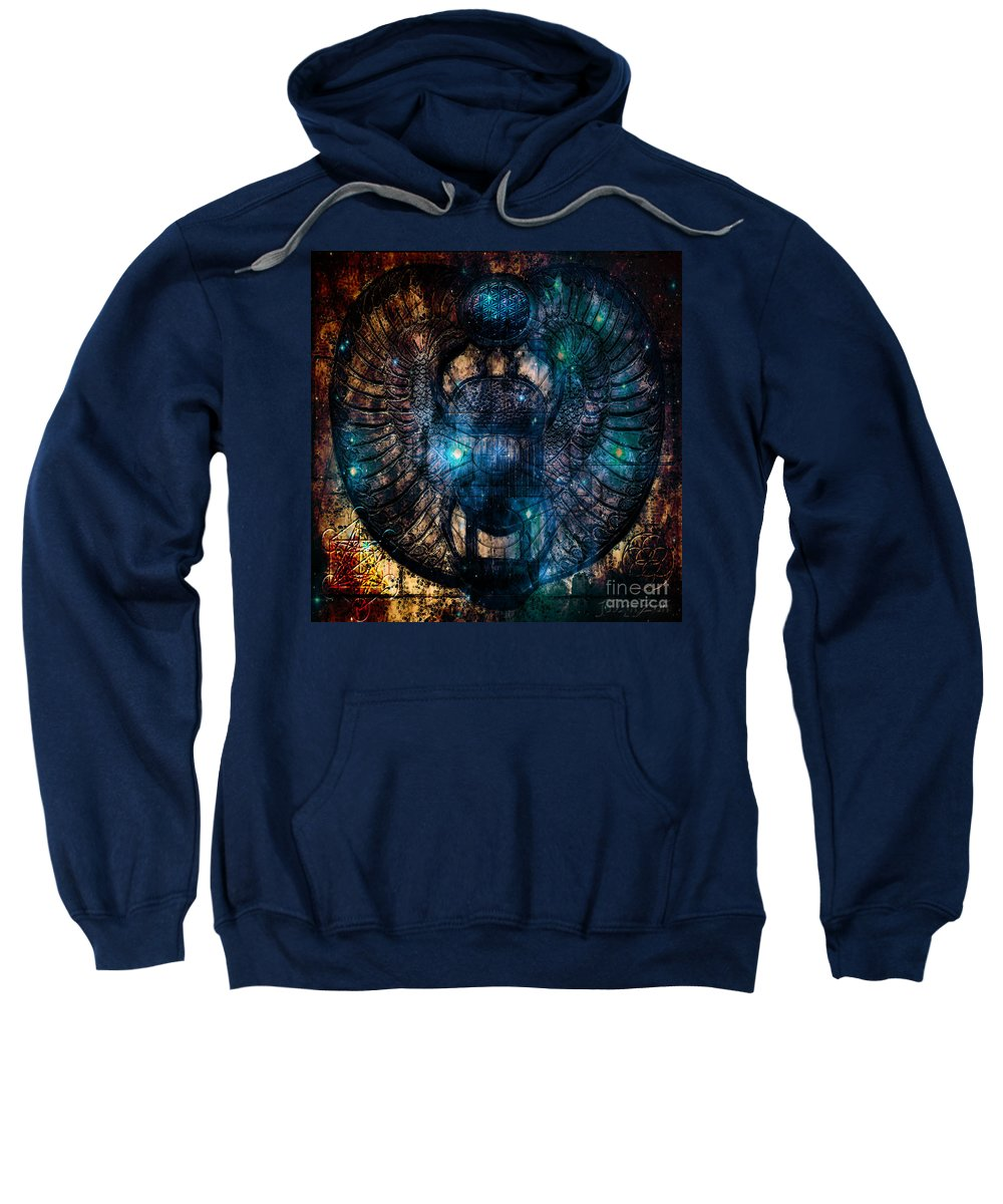 Sacred Scarab Sweatshirt featuring the digital art Sacred Scarab by Mynzah Osiris
