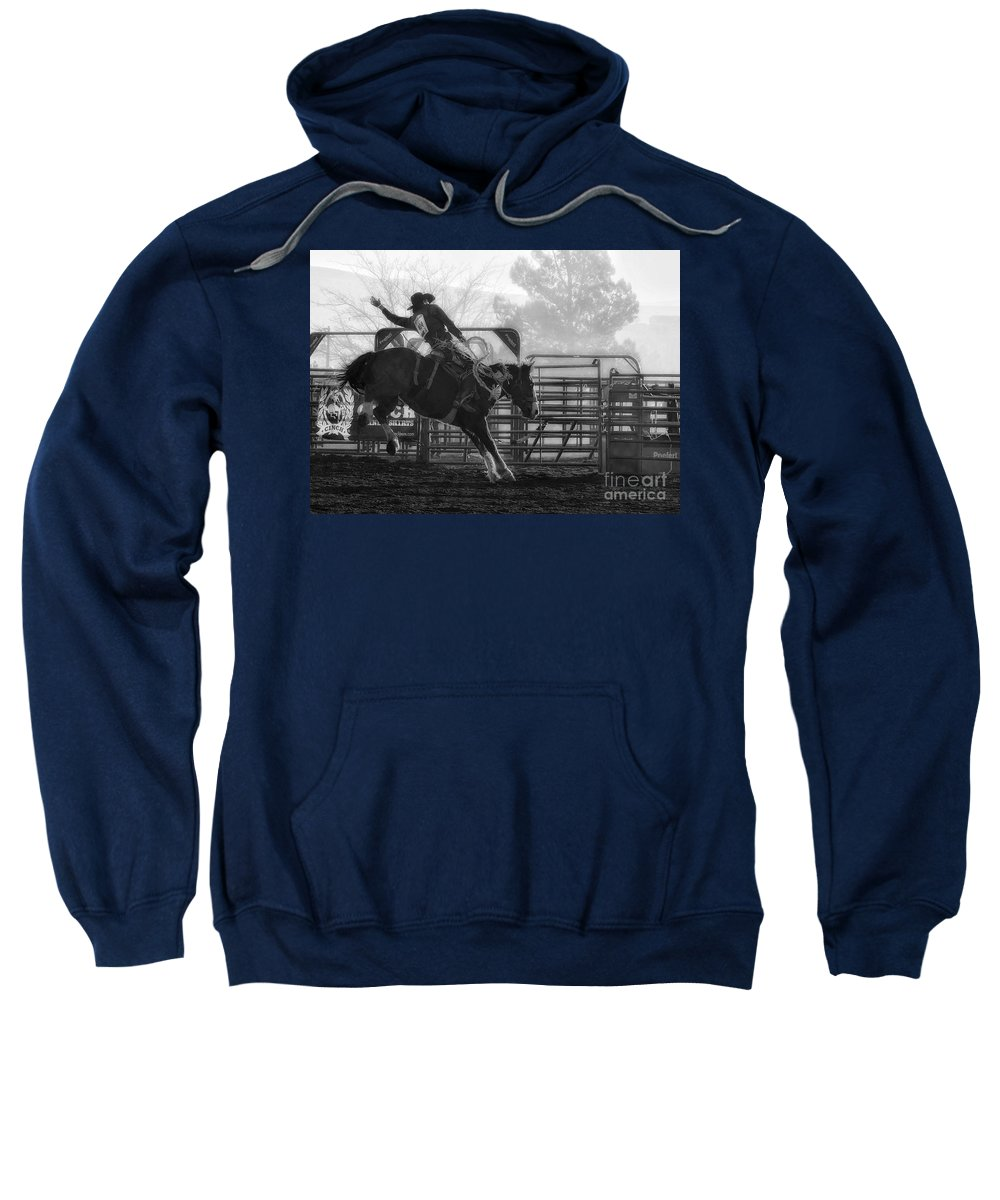 Rodeo Sweatshirt featuring the photograph Saddle Bronc Riding by Priscilla Burgers