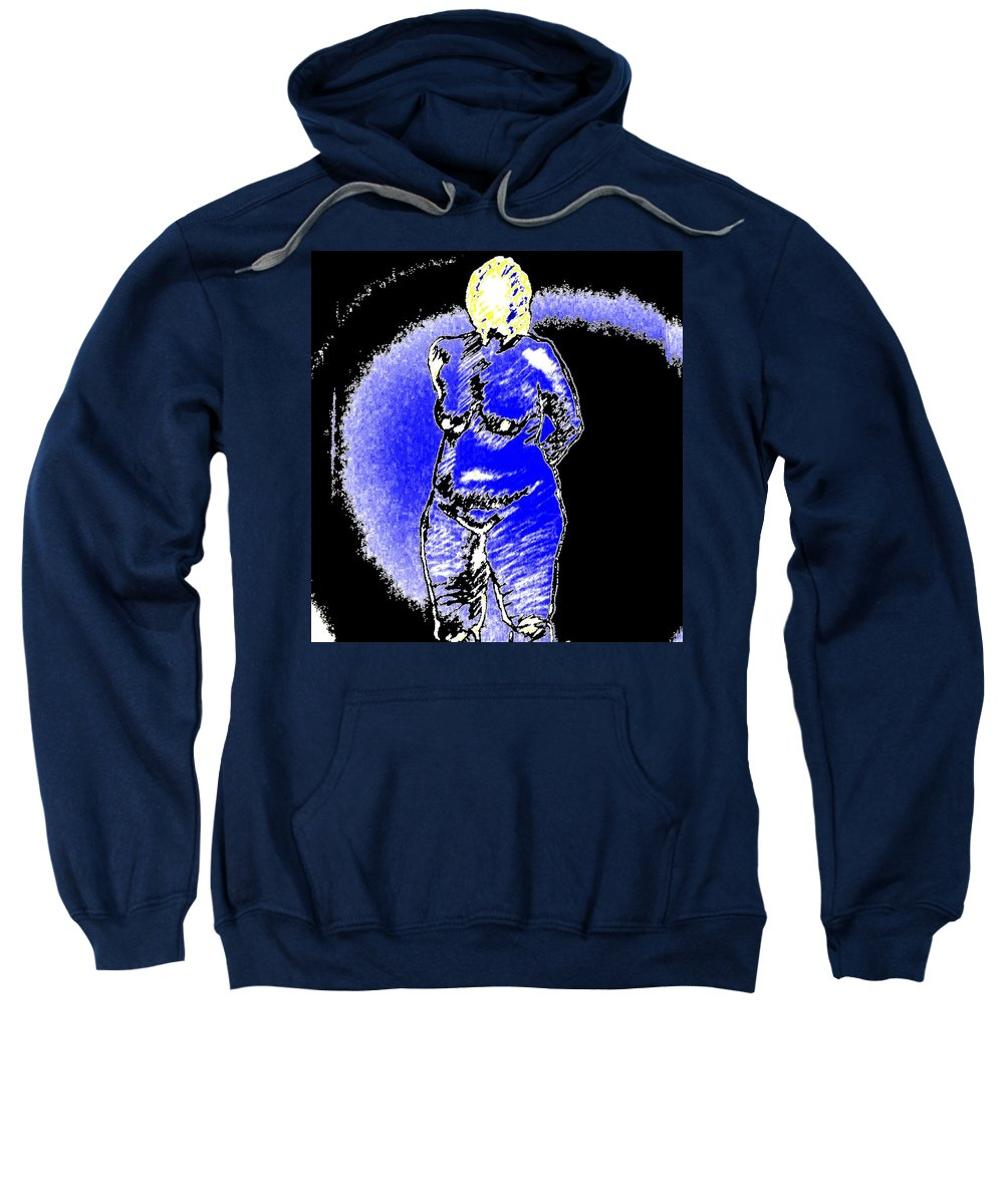 Genio Sweatshirt featuring the mixed media Safe Blue Woman by Genio GgXpress