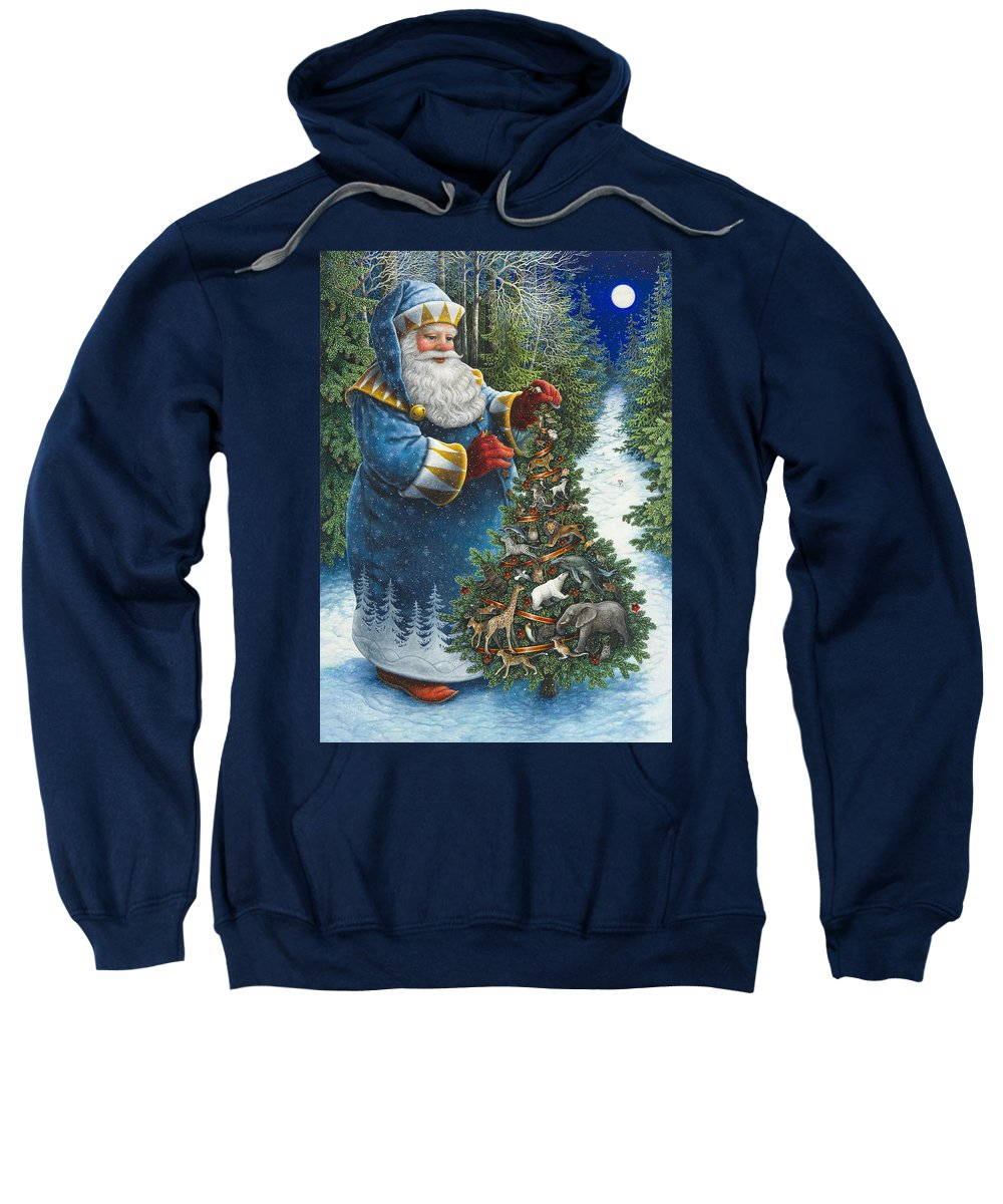 Santa Claus Sweatshirt featuring the painting Santa's Christmas Tree by Lynn Bywaters