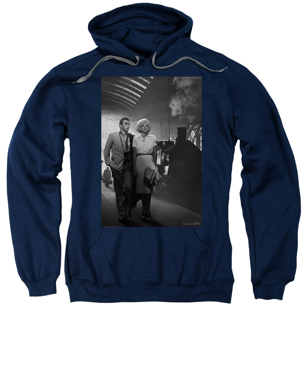 Marilyn Sweatshirt featuring the painting Saying Farewell by Chris Consani
