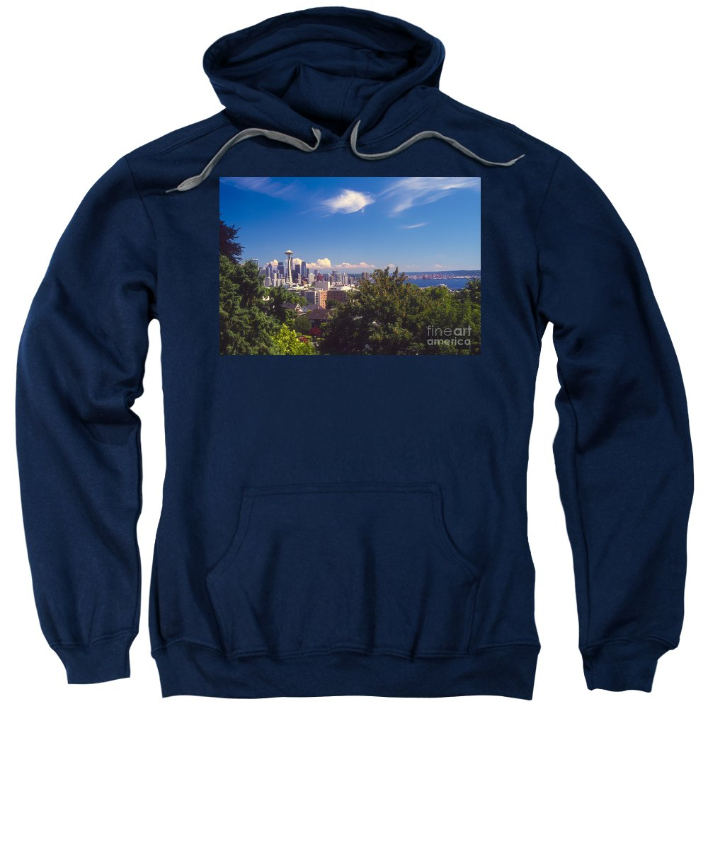 Seattle Sweatshirt featuring the photograph Seattle From Queen Anne Hill by Bob Phillips