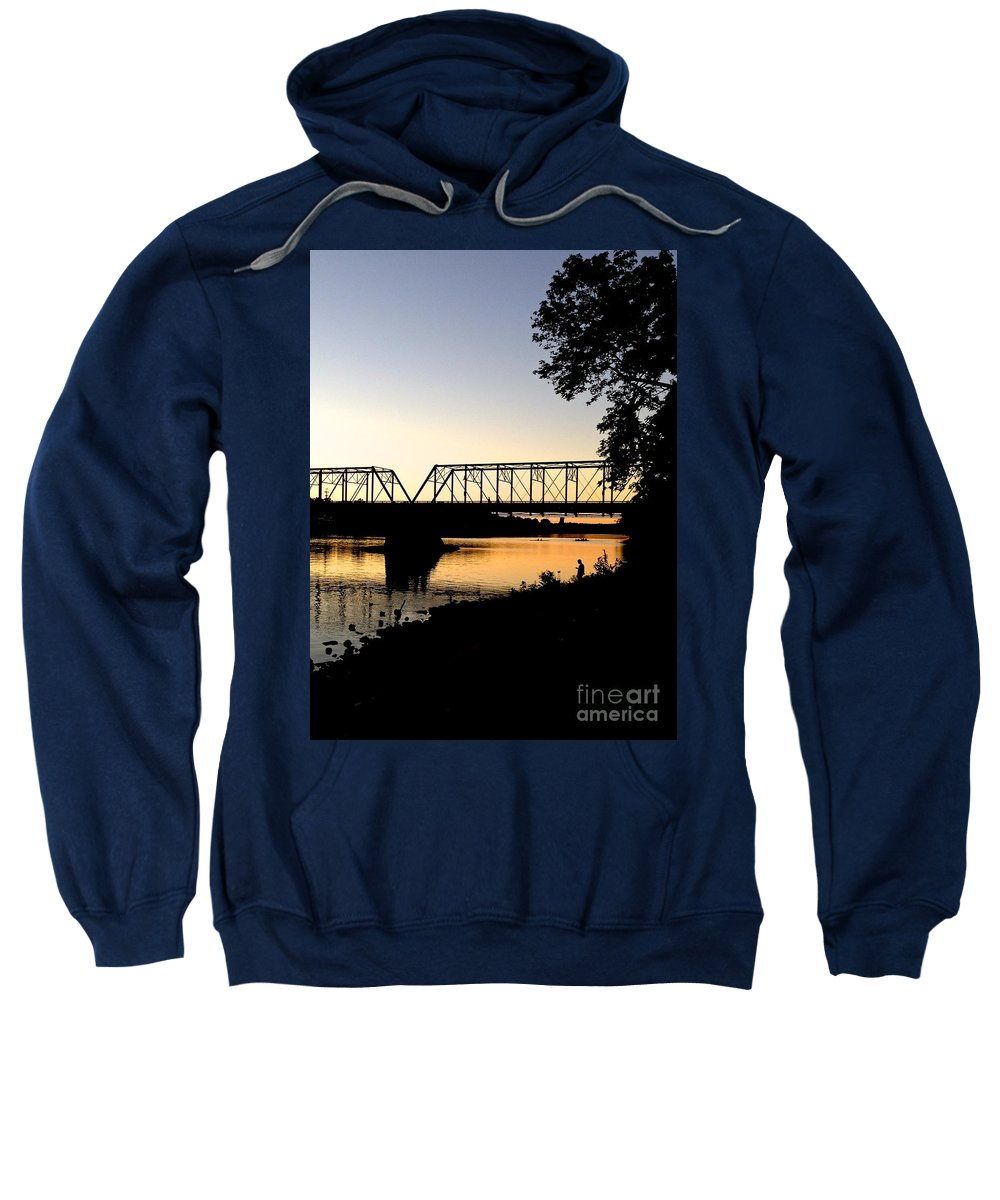 Boats Sweatshirt featuring the photograph September Sunset On The River by Christopher Plummer
