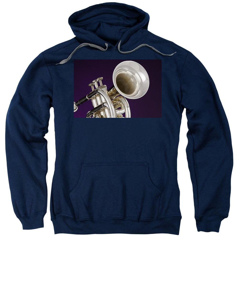 Cornet Sweatshirt featuring the photograph Sharp Silver Trumpet by M K Miller