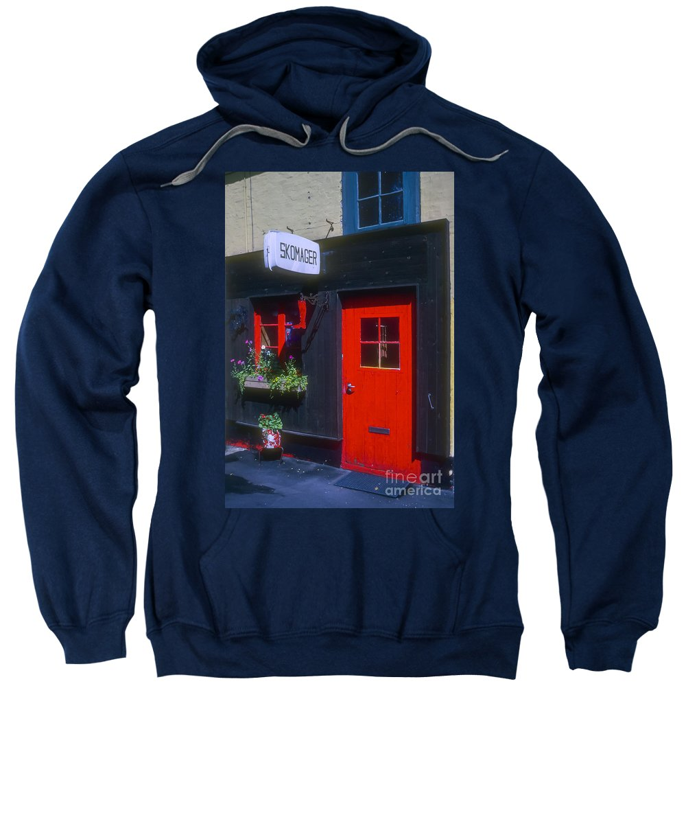 Shoe Repair Shop Shops Door Doors Building Buildings Structure Structures Architecture Window Windows Copenhagen Denmark Store Stores Sweatshirt featuring the photograph Shoe Repair Shop by Bob Phillips