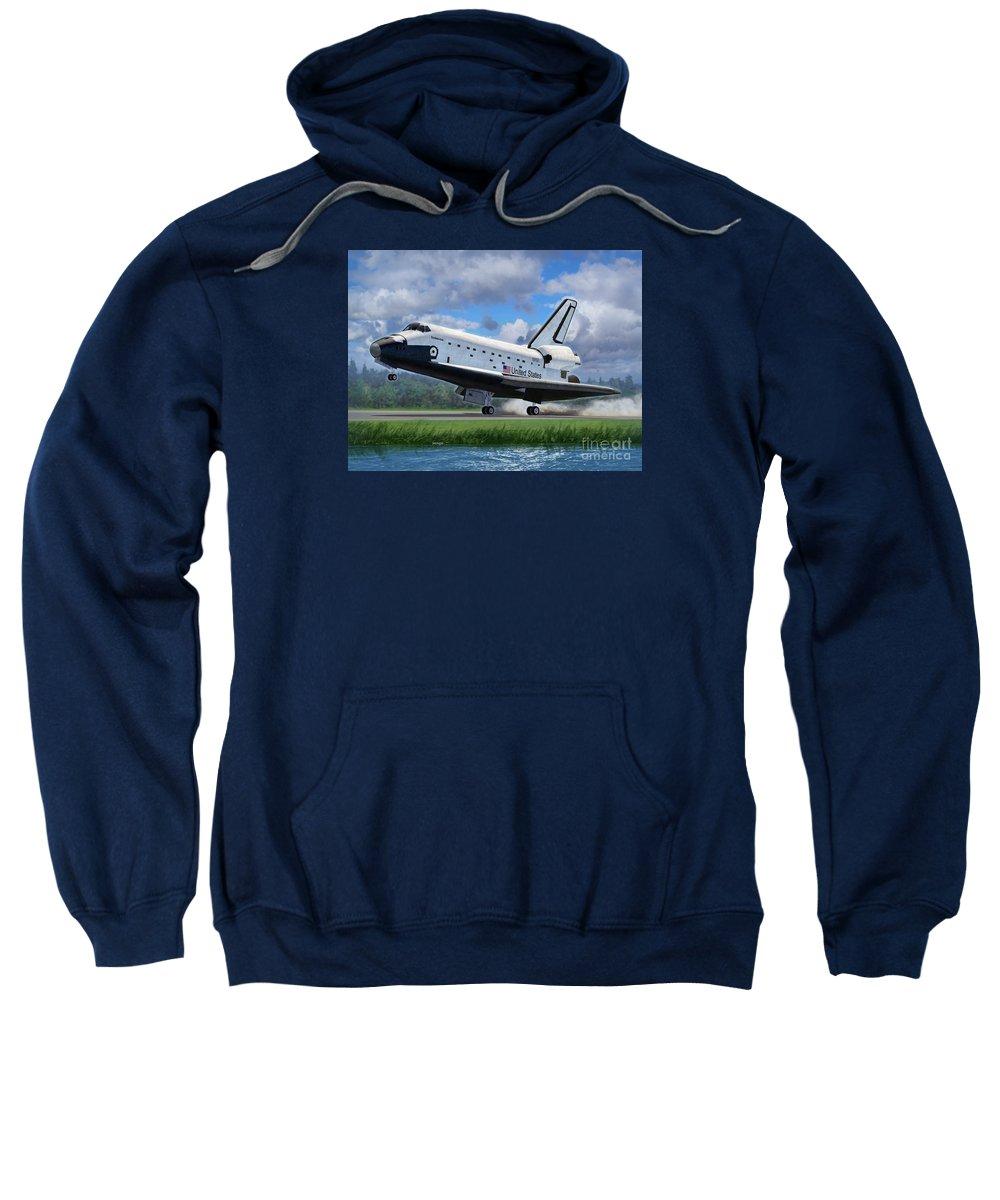 Space Sweatshirt featuring the digital art Shuttle Endeavour Touchdown by Stu Shepherd