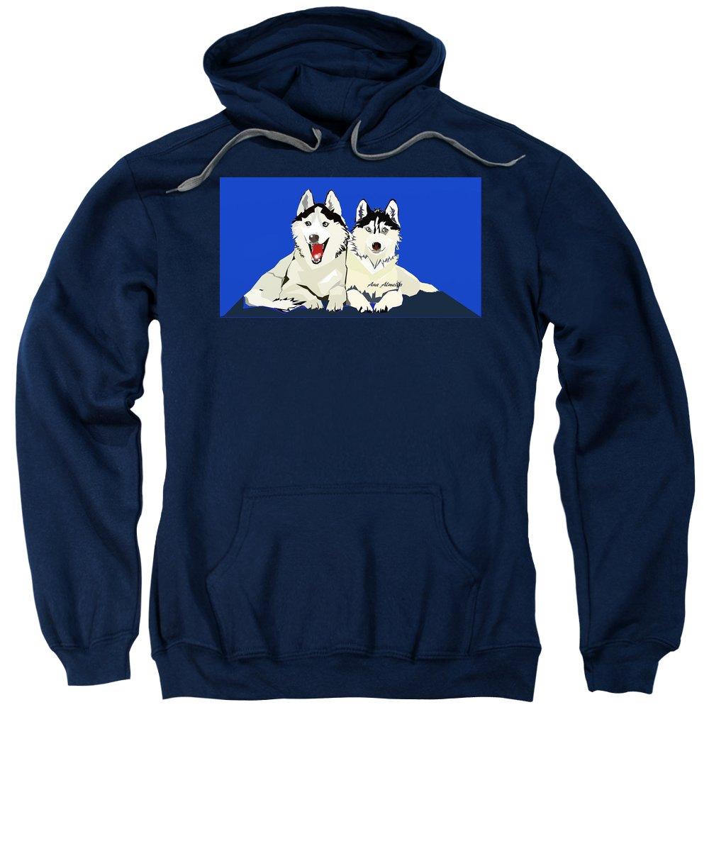 Sweatshirt featuring the digital art Siberian Husky by Ana Almeida