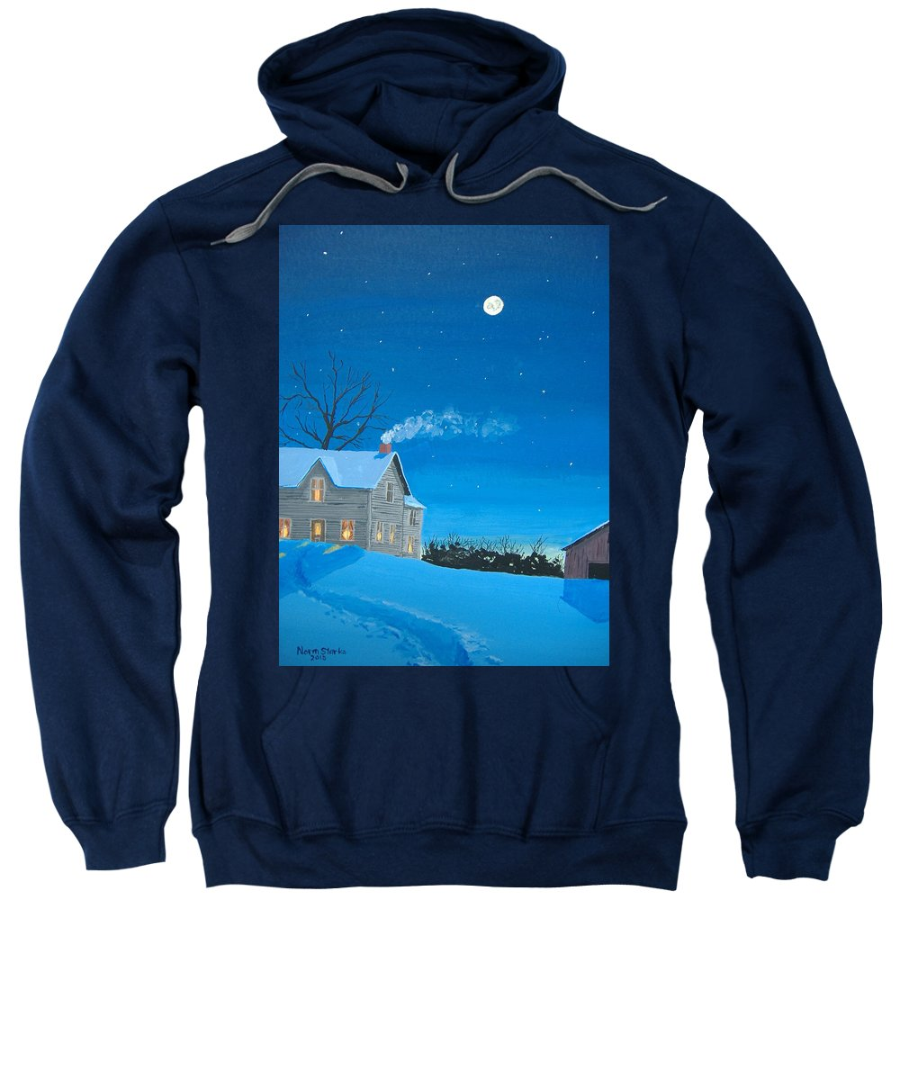 Winter Sweatshirt featuring the painting Silent Night by Norm Starks