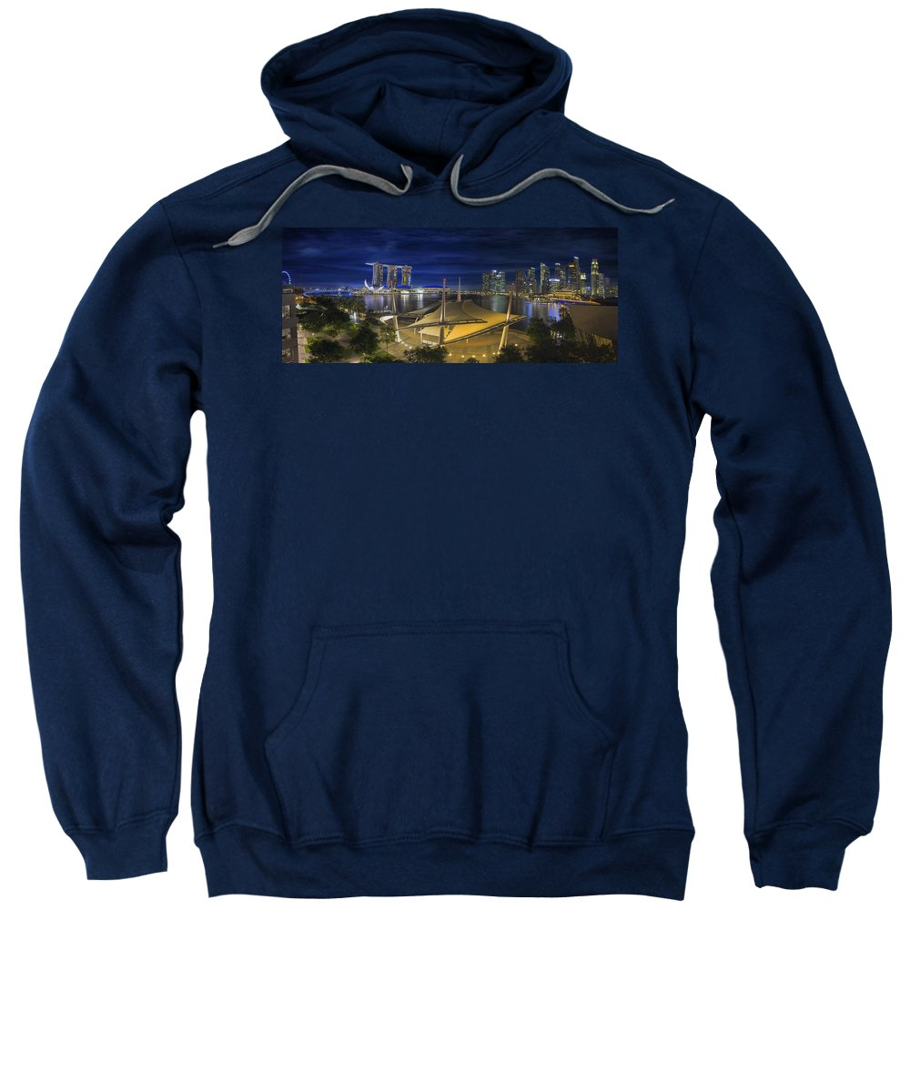 Singapore Sweatshirt featuring the photograph Singapore Central Business District Skyline At Dusk by Jit Lim
