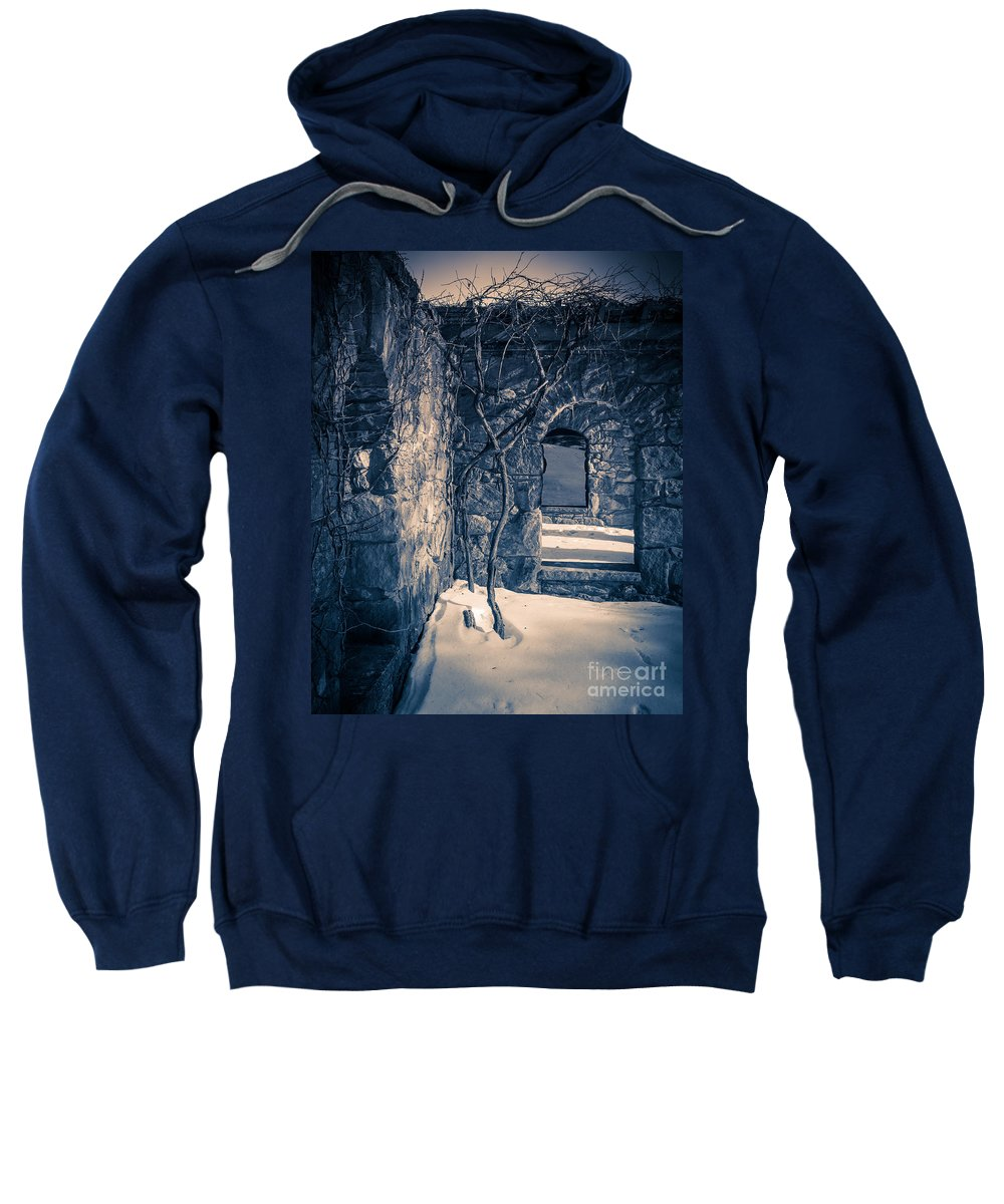 House Sweatshirt featuring the photograph Snowy Ruins At Night by Edward Fielding