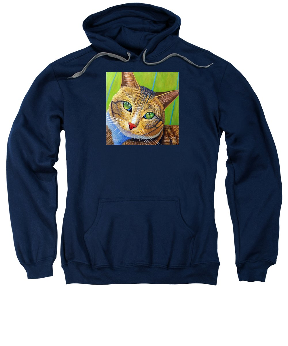 Cat Sweatshirt featuring the painting Soul 2 Soul by Brian Commerford