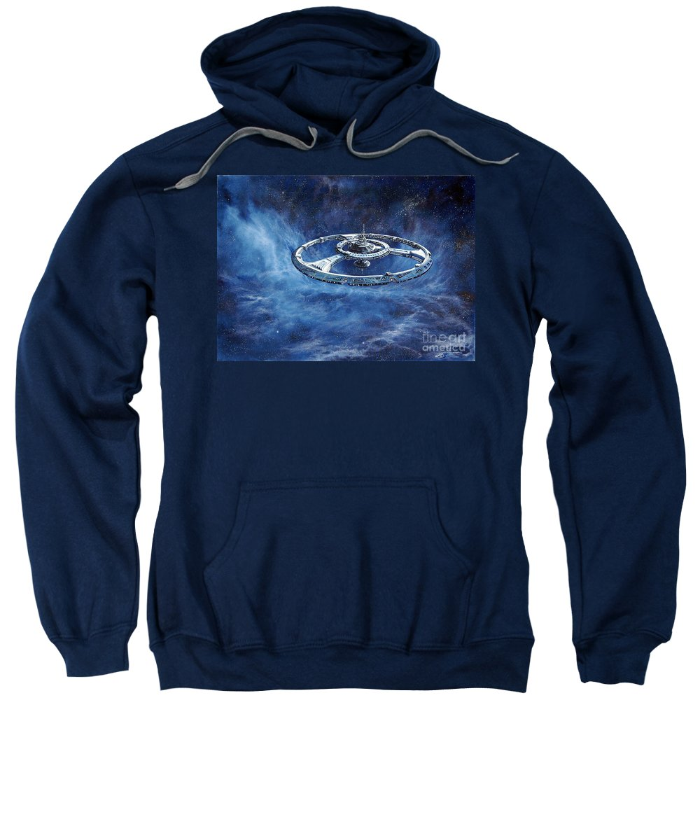 Sci-fi Sweatshirt featuring the painting Deep Space Eight Station Of The Future by Murphy Elliott