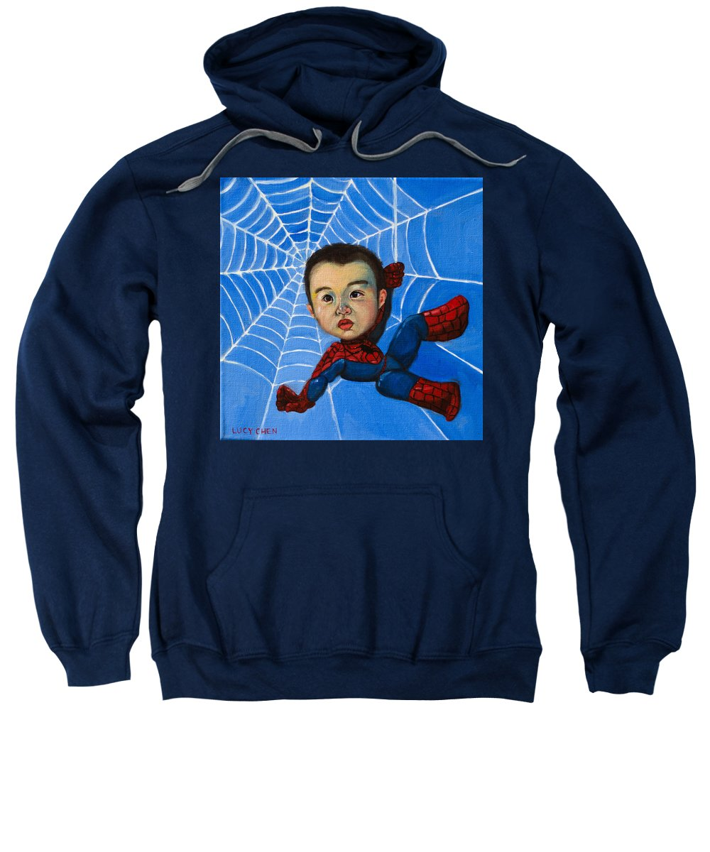 Spiderman Sweatshirt featuring the painting Spider-man Alan by Lucy Chen