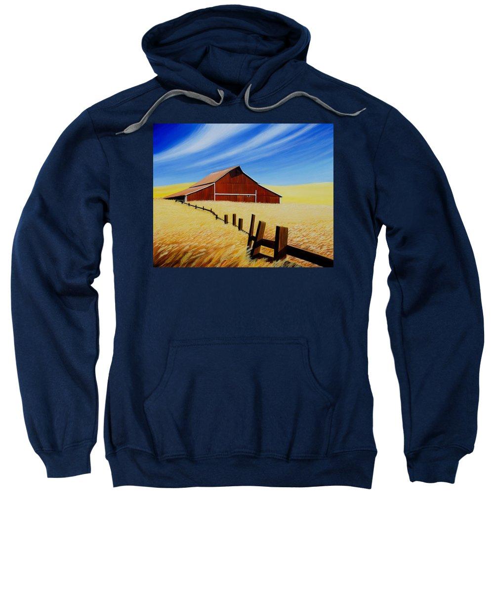 Barn Sweatshirt featuring the painting Stable near St. Johns by Leonard Heid