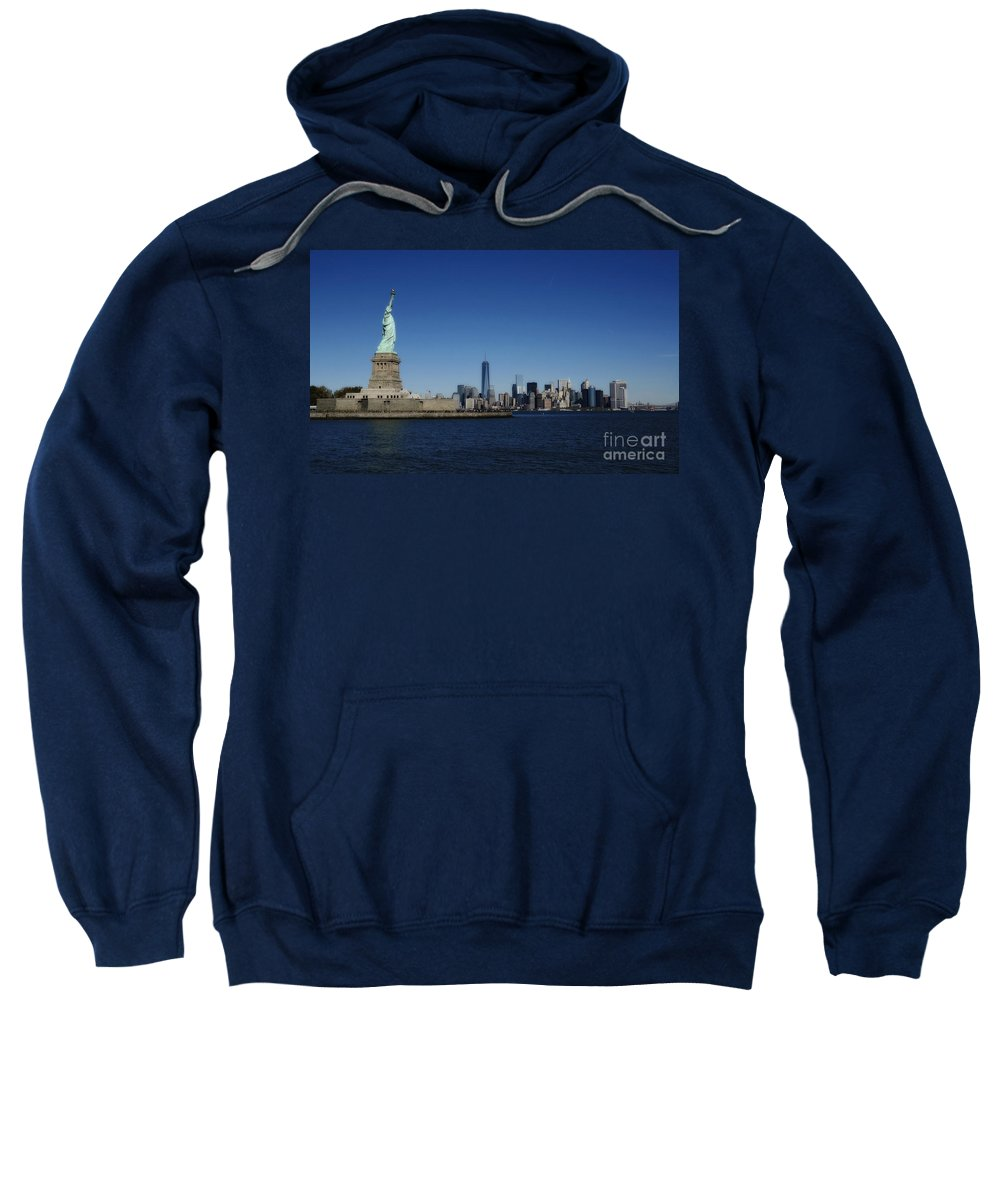 new York Sweatshirt featuring the photograph Statue Of Liberty And Manhattan by Traci Law