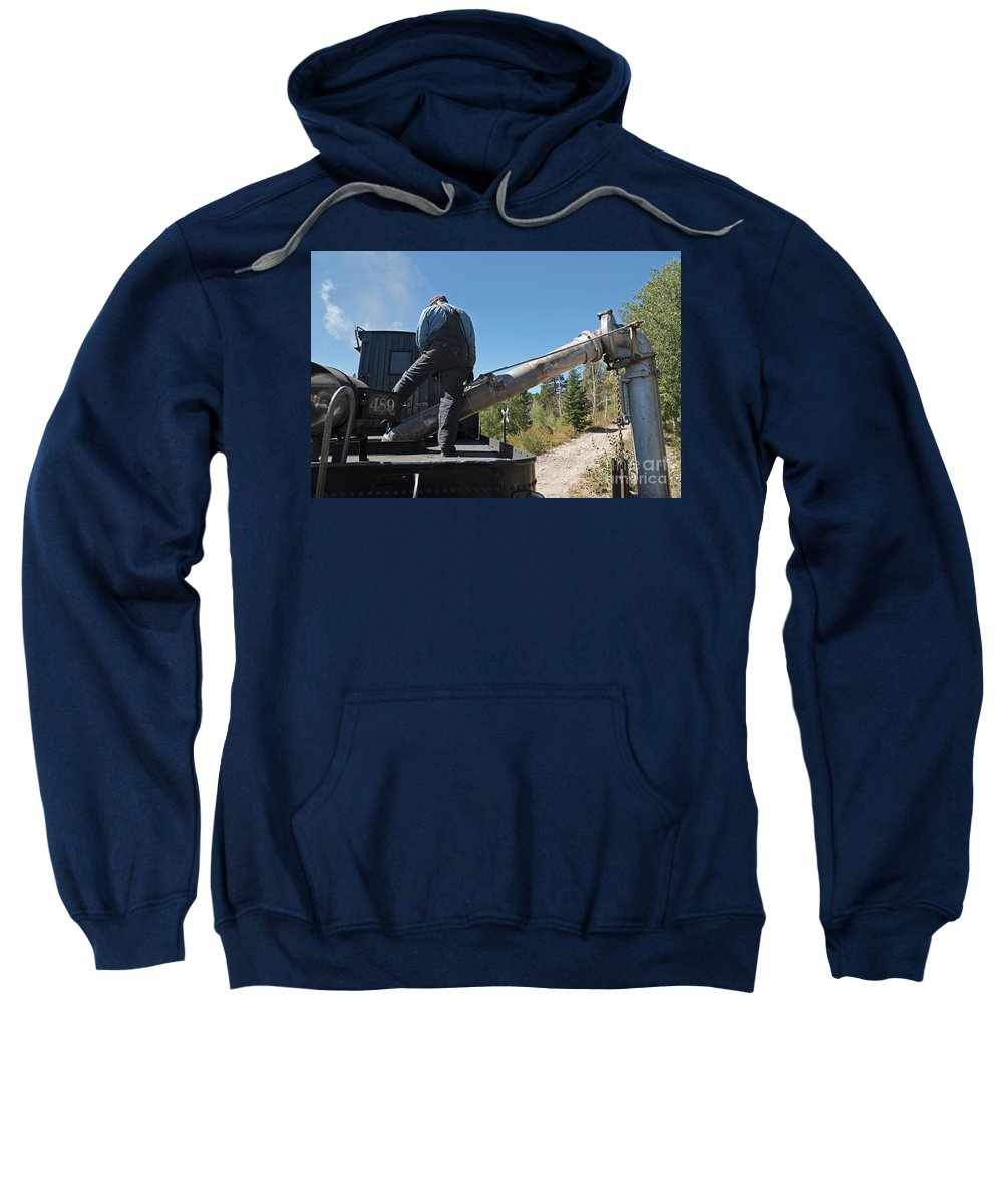 Antonito Sweatshirt featuring the photograph Steam Engine 489 At The Watering At Sublette Station On The Cumbres And Toltec Rr by Fred Stearns
