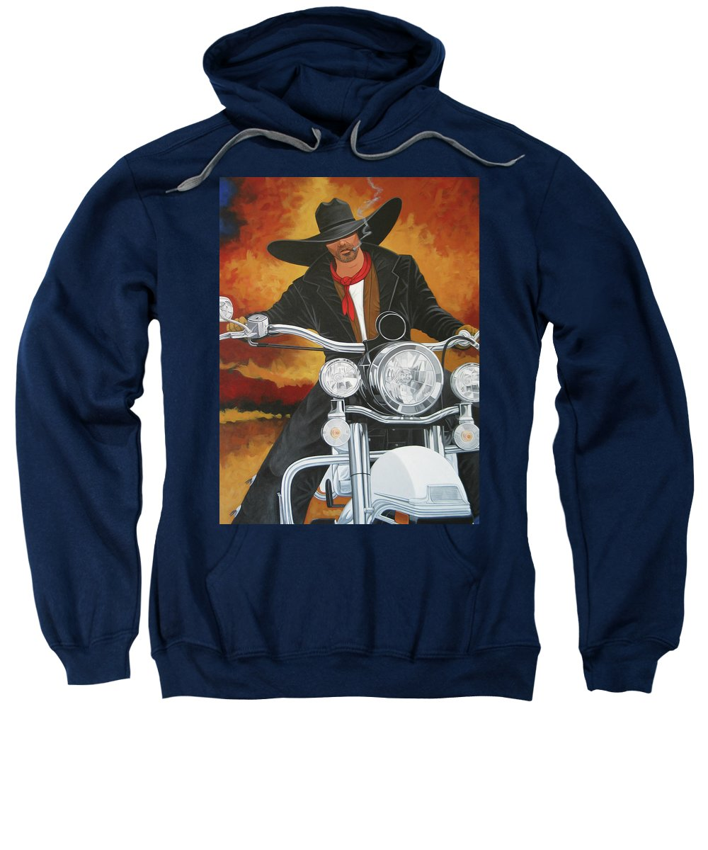Cowboy On Motorcycle Sweatshirt featuring the painting Steel Pony by Lance Headlee