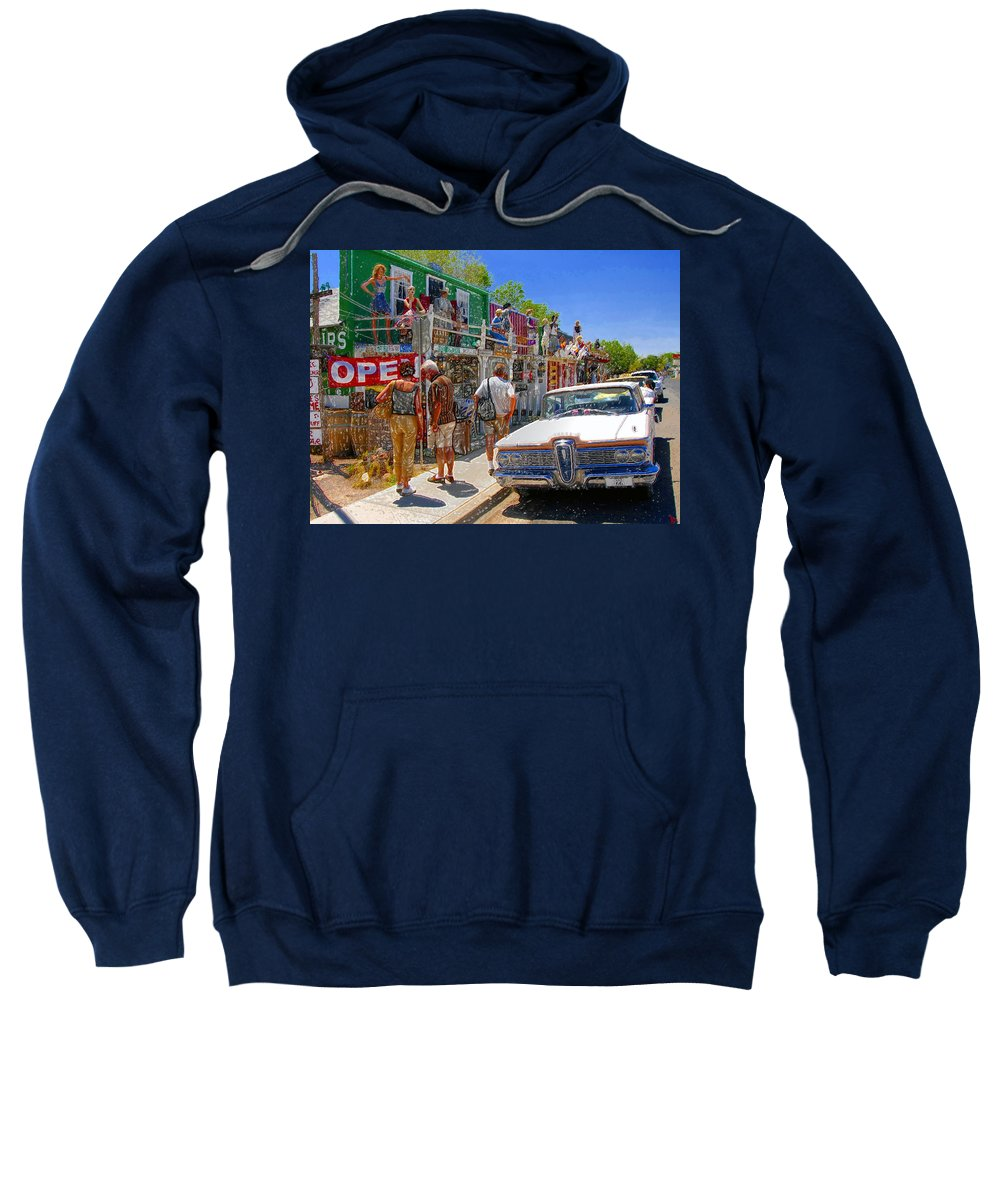 Seligman Arizona Sweatshirt featuring the painting Strange Stop At Seligman by David Lee Thompson