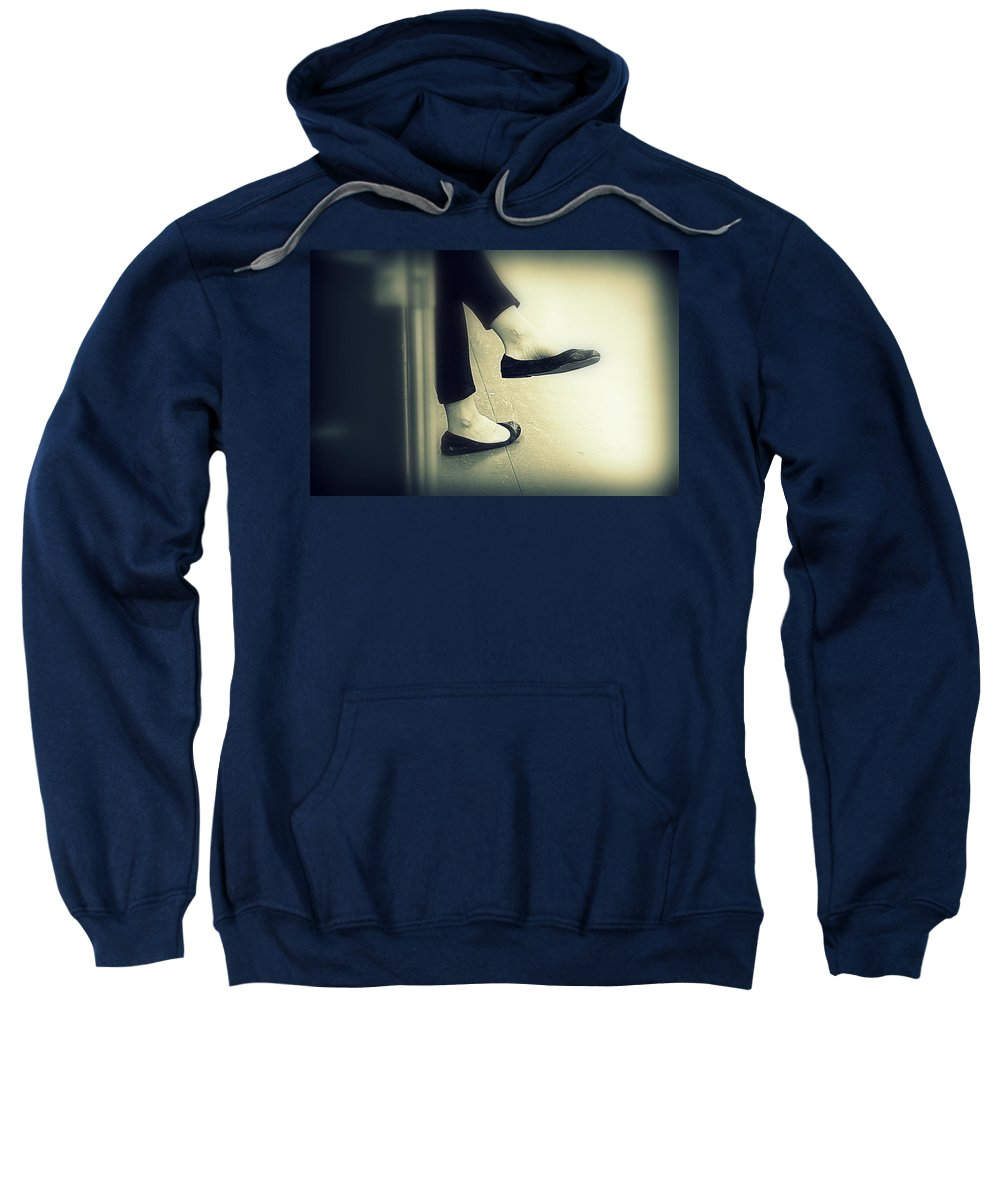 Rest Sweatshirt featuring the photograph Subway Feet by Valentino Visentini