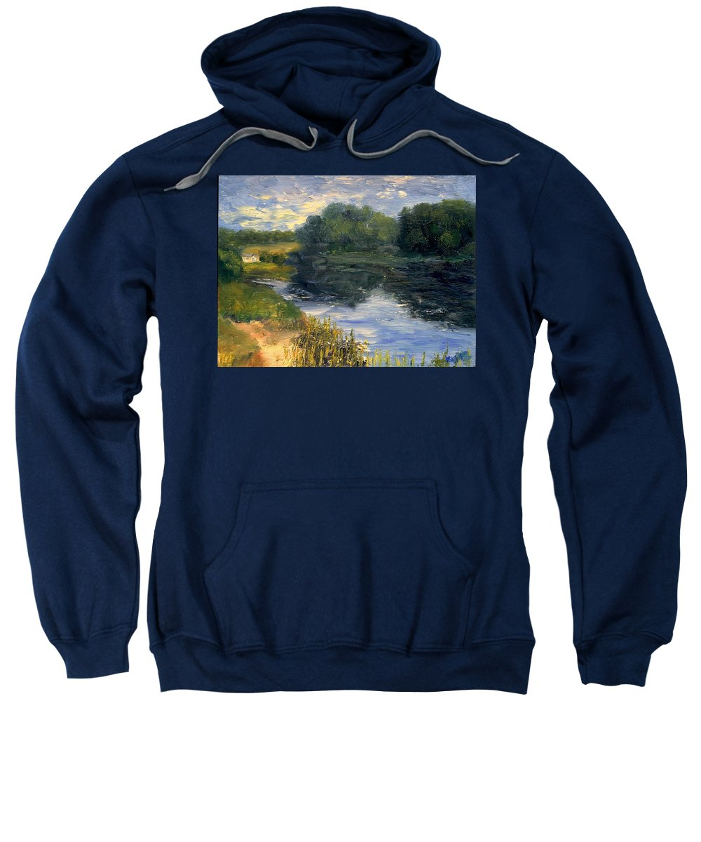 Landscape Sweatshirt featuring the painting Summer At Jackson Lake by Gail Kirtz