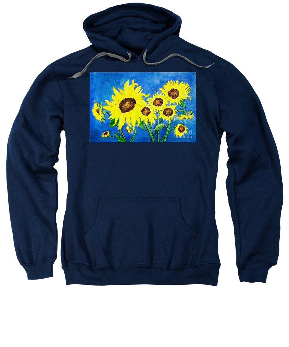 Sunflower Sweatshirt featuring the painting Sunflowers by Virginia Ann Hemingson