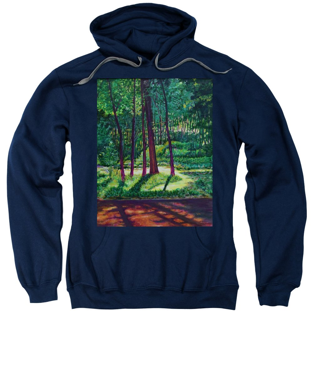 Nature Sweatshirt featuring the painting Sunlight Peeping Through. by Usha Shantharam
