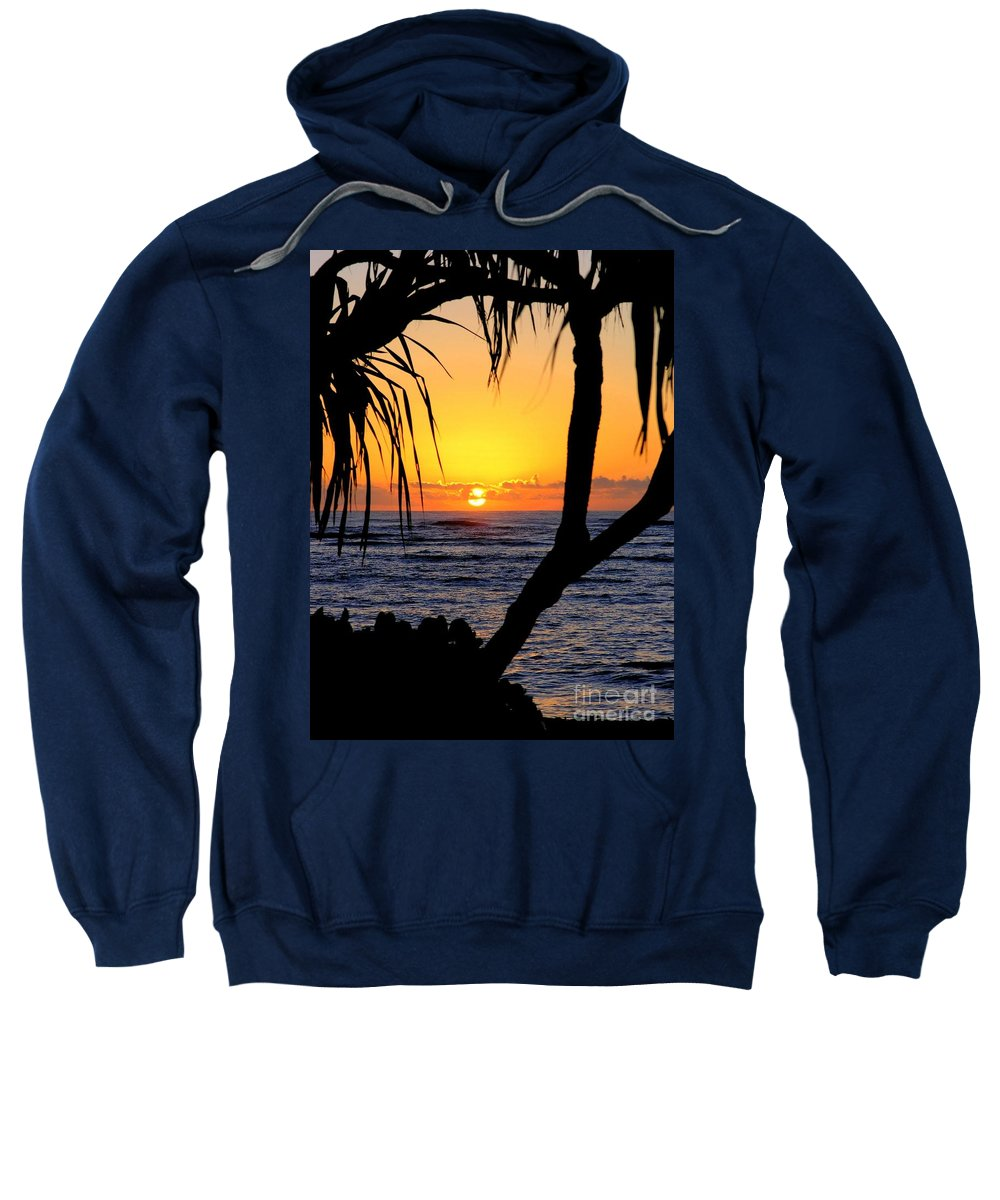 Seascape Sweatshirt featuring the photograph Sunrise Fuji Beach Kauai by Mary Deal