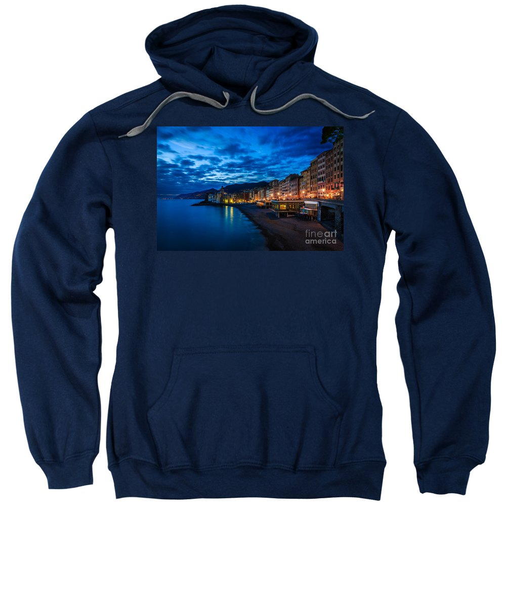 Sunset Sweatshirt featuring the photograph Sunset At Camogli In Liguria - Italy by Kim Petersen