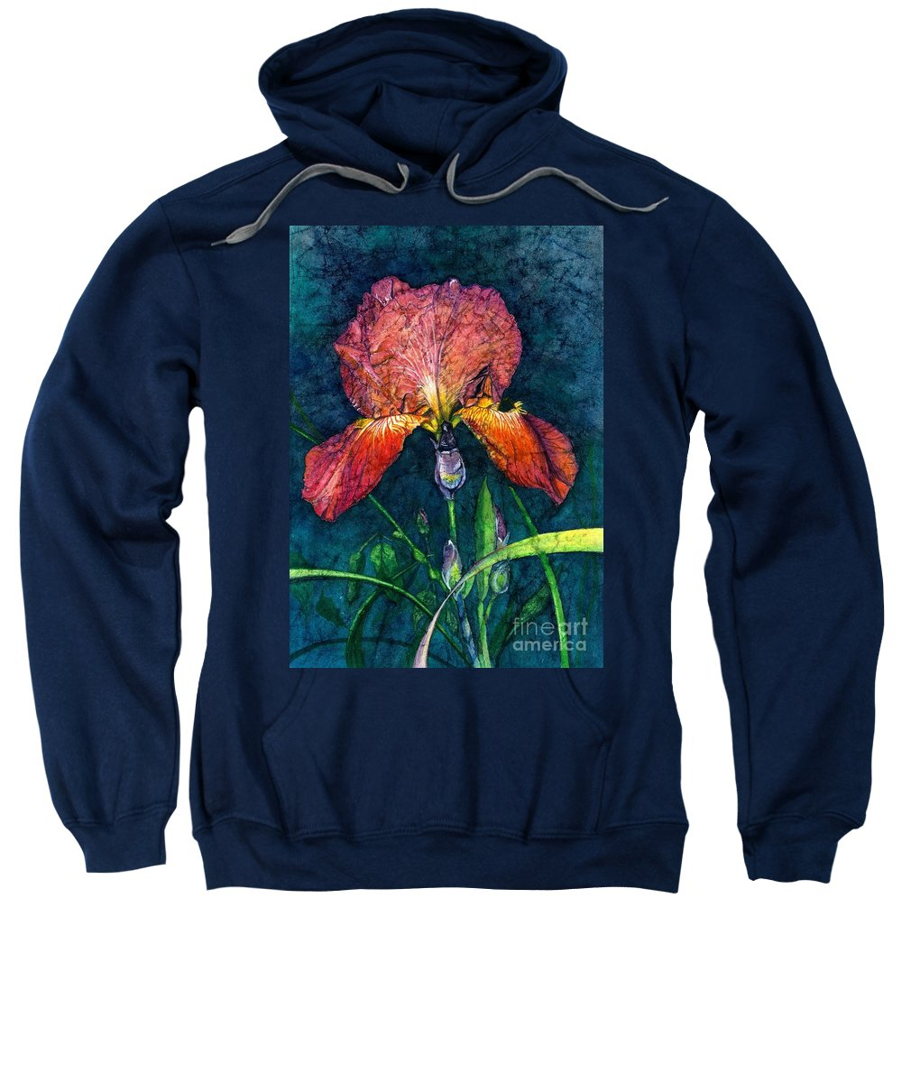 Flower Sweatshirt featuring the painting Sunset Iris by Barbara Jewell