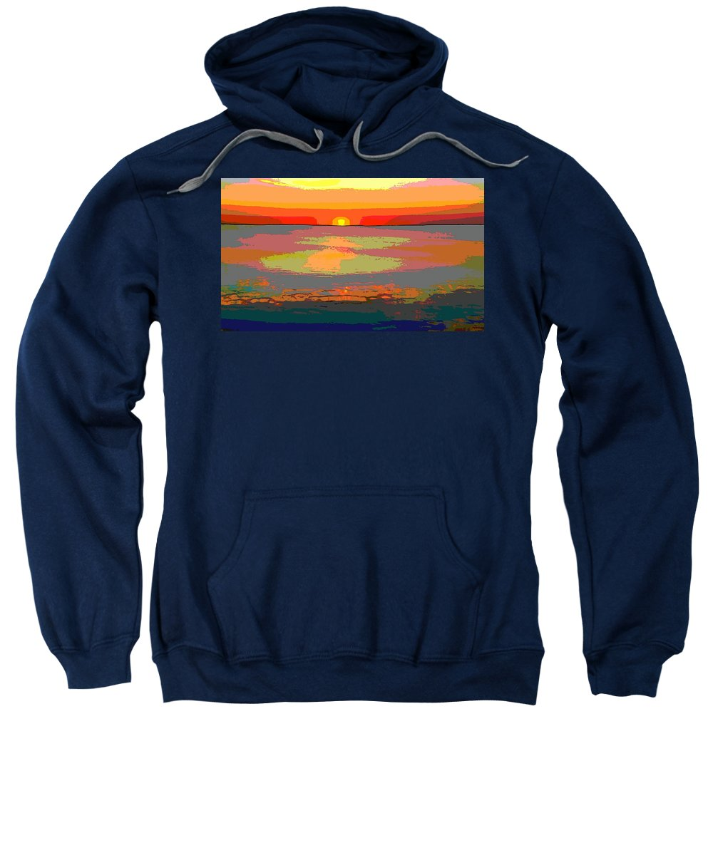 Sunset On The Lake Sweatshirt featuring the digital art Sunset On The Lake by Dan Sproul