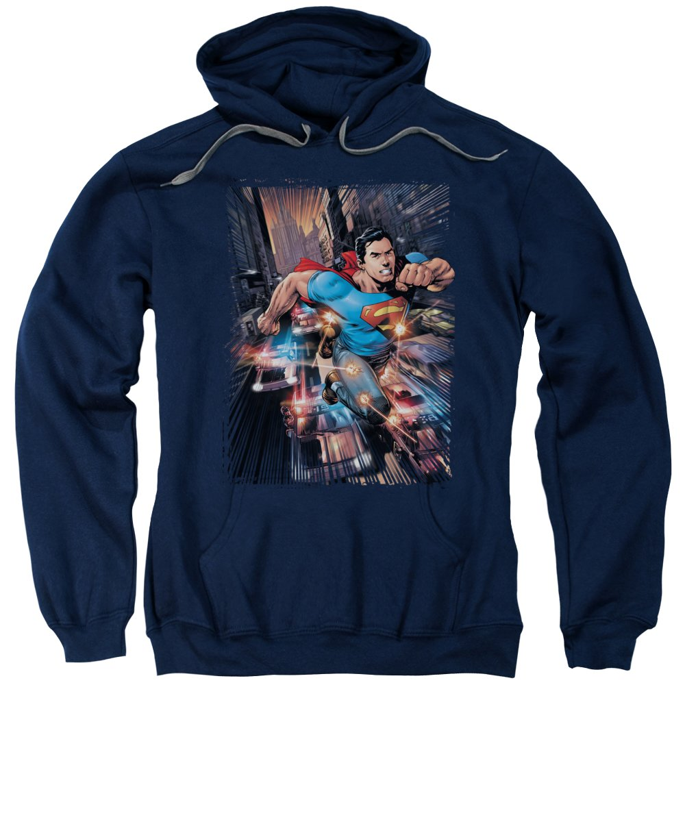 Superman Sweatshirt featuring the digital art Superman - Action Comics #1 by Brand A