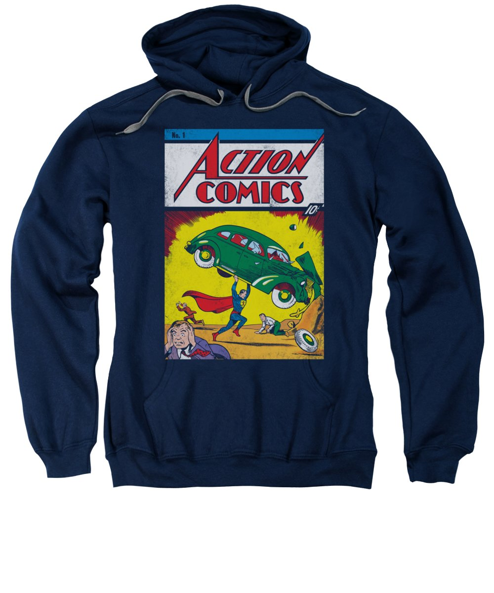 Superman Sweatshirt featuring the digital art Superman - Action No. 1 by Brand A