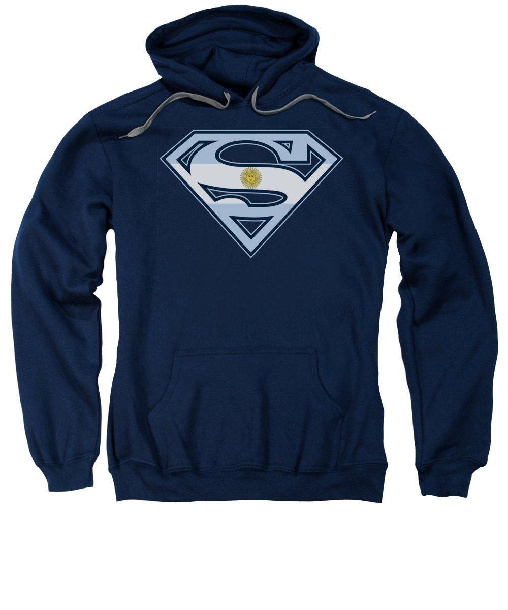 Superman Sweatshirt featuring the digital art Superman - Argentinian Shield by Brand A