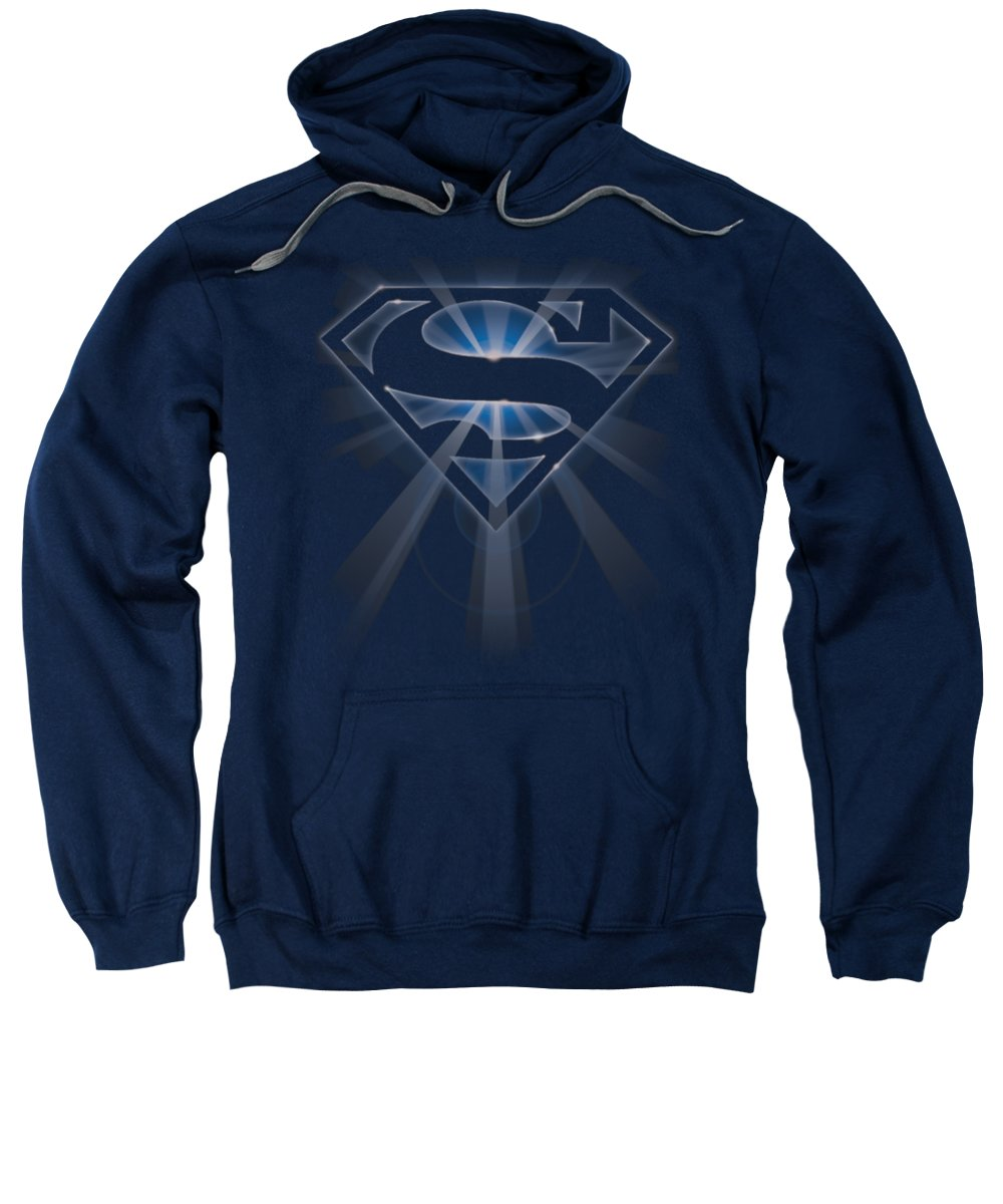 Superman Sweatshirt featuring the digital art Superman - Glowing Shield by Brand A