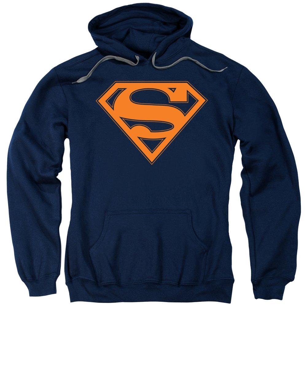 Superman Sweatshirt featuring the digital art Superman - Navy And Orange Shield by Brand A