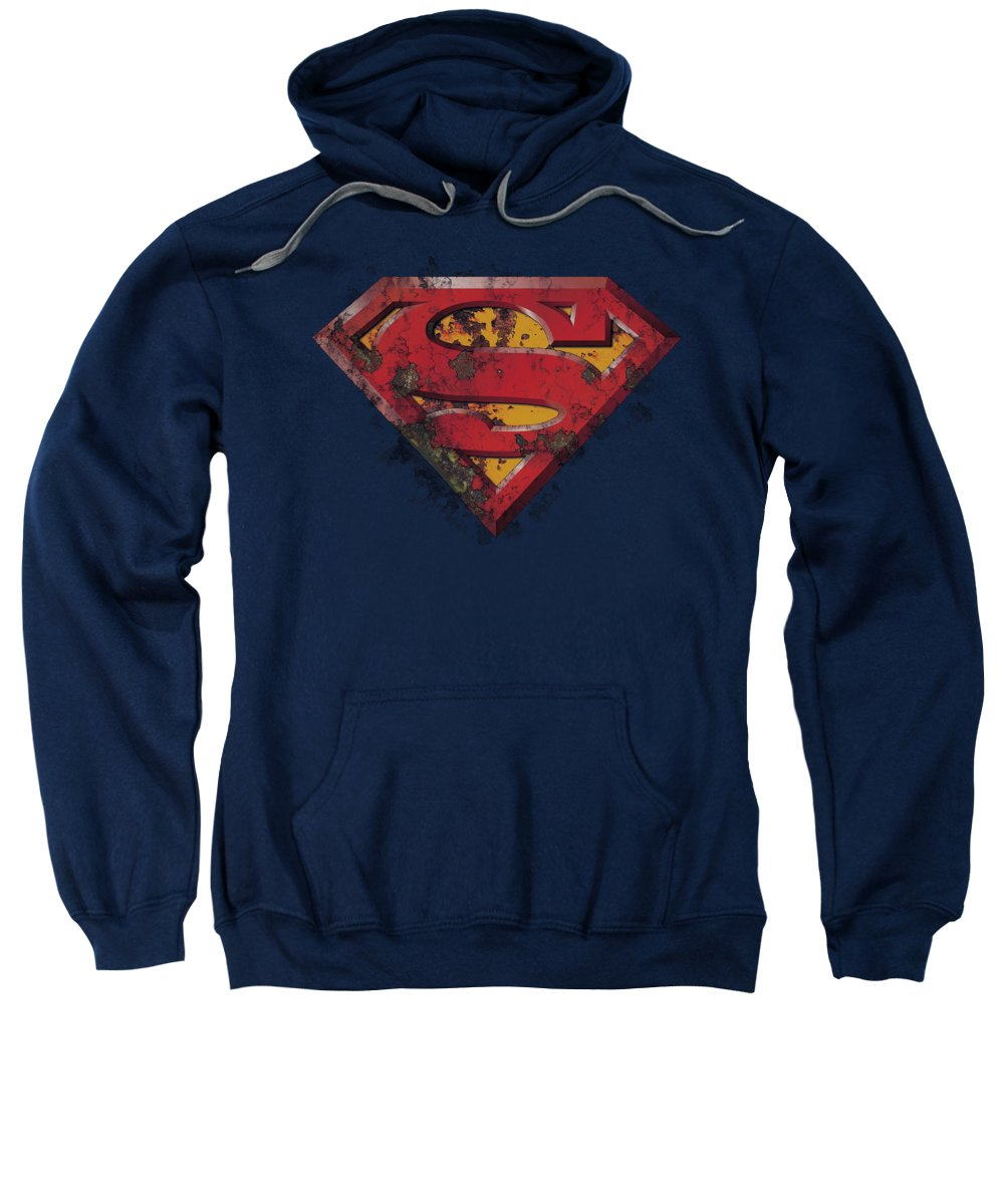 Superman Sweatshirt featuring the digital art Superman - Rusted Shield by Brand A