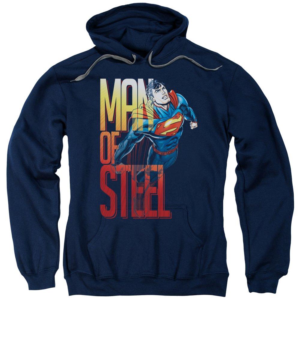 Superman Sweatshirt featuring the digital art Superman - Steel Flight by Brand A