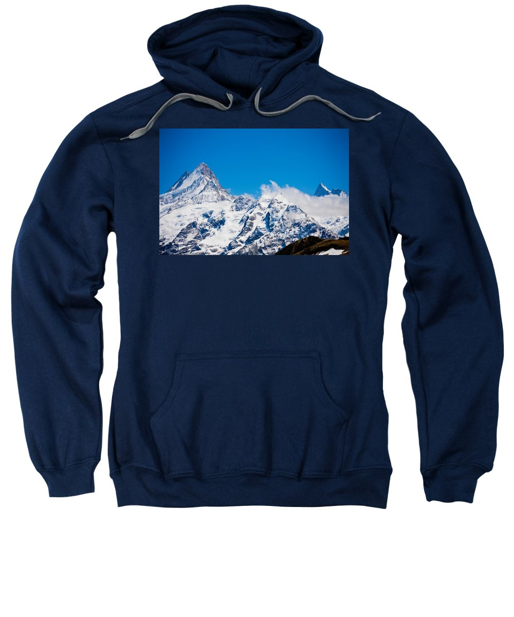 Alps Sweatshirt featuring the photograph Swiss Alps - Schreckhorn by Anthony Doudt
