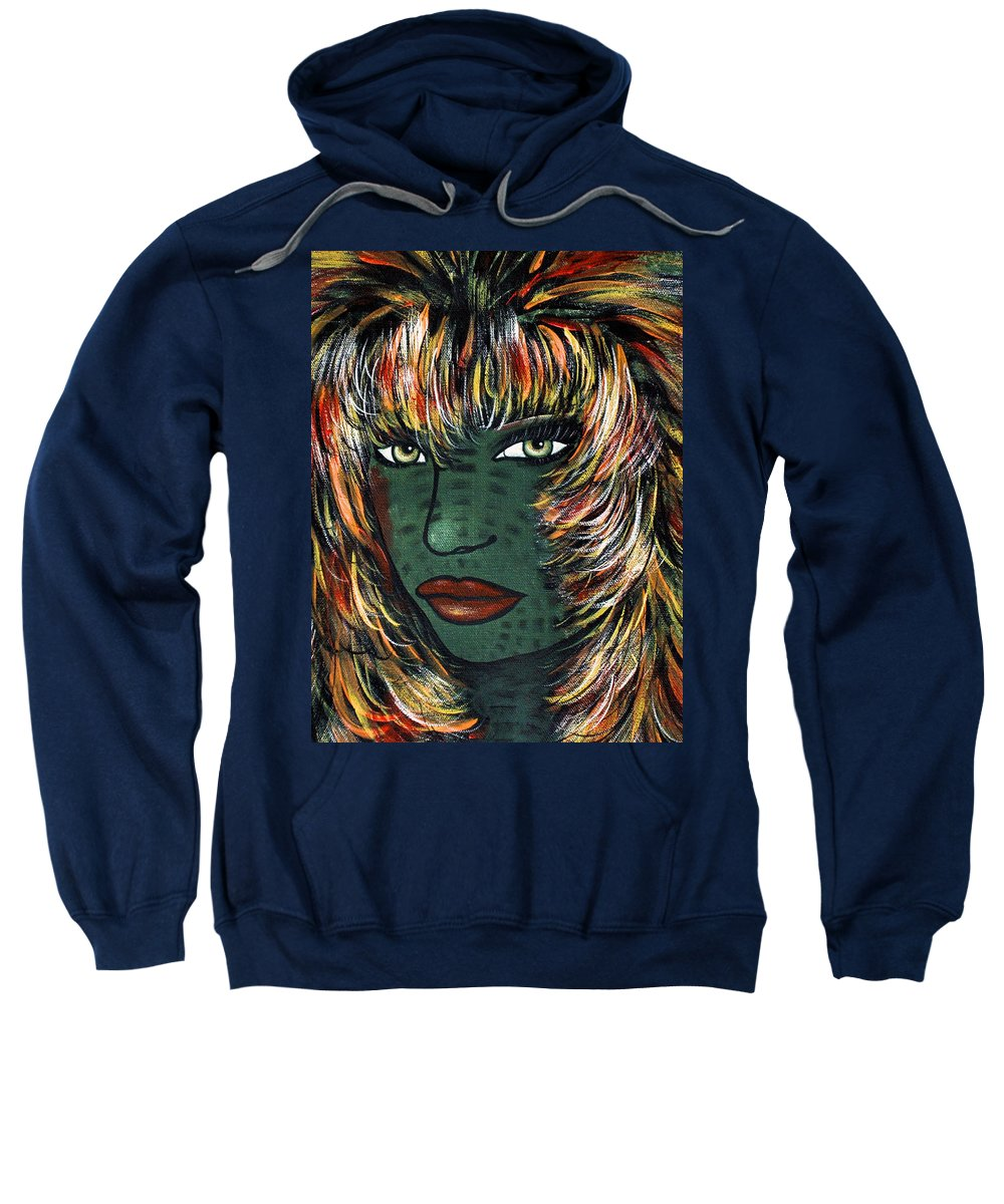 Woman Sweatshirt featuring the painting Tattoo by Natalie Holland